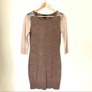 Embellished sweater dress cream taupe pearls M